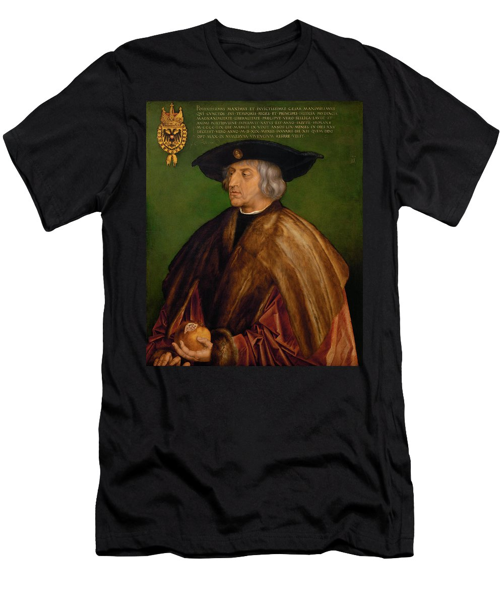 Albrecht Duerer Men's T-Shirt (Athletic Fit) featuring the painting Portrait Of Maximilian I by Albrecht duerer