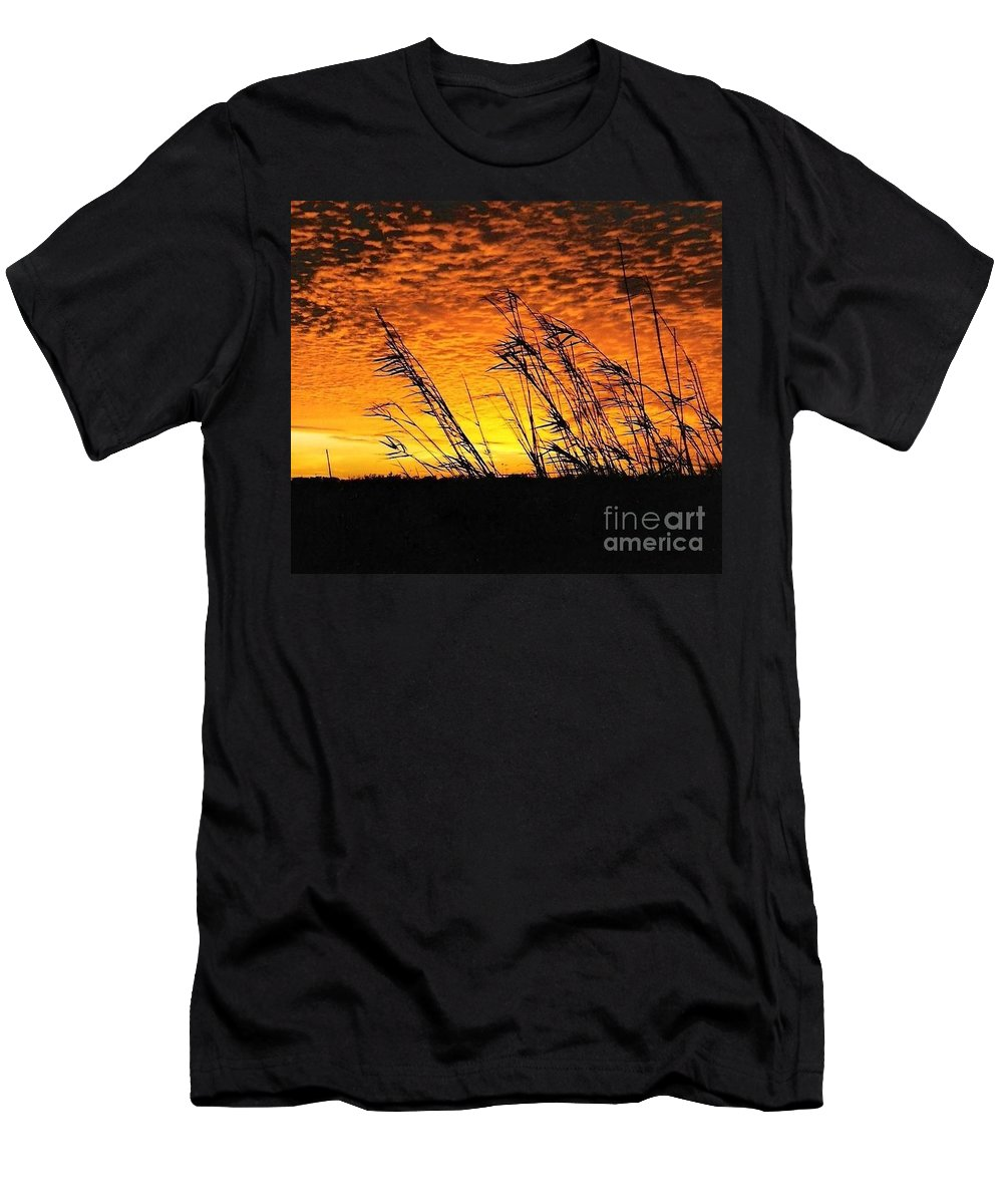 Beaumont Men's T-Shirt (Athletic Fit) featuring the photograph Post Hurricane Rita Clouds At Dockside In Beaumont Texas Usa by Michael Hoard