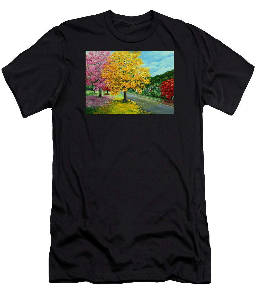 Poui Trees Men's T-Shirt (Athletic Fit) featuring the painting Poui In Diego by Karin Dawn Kelshall- Best
