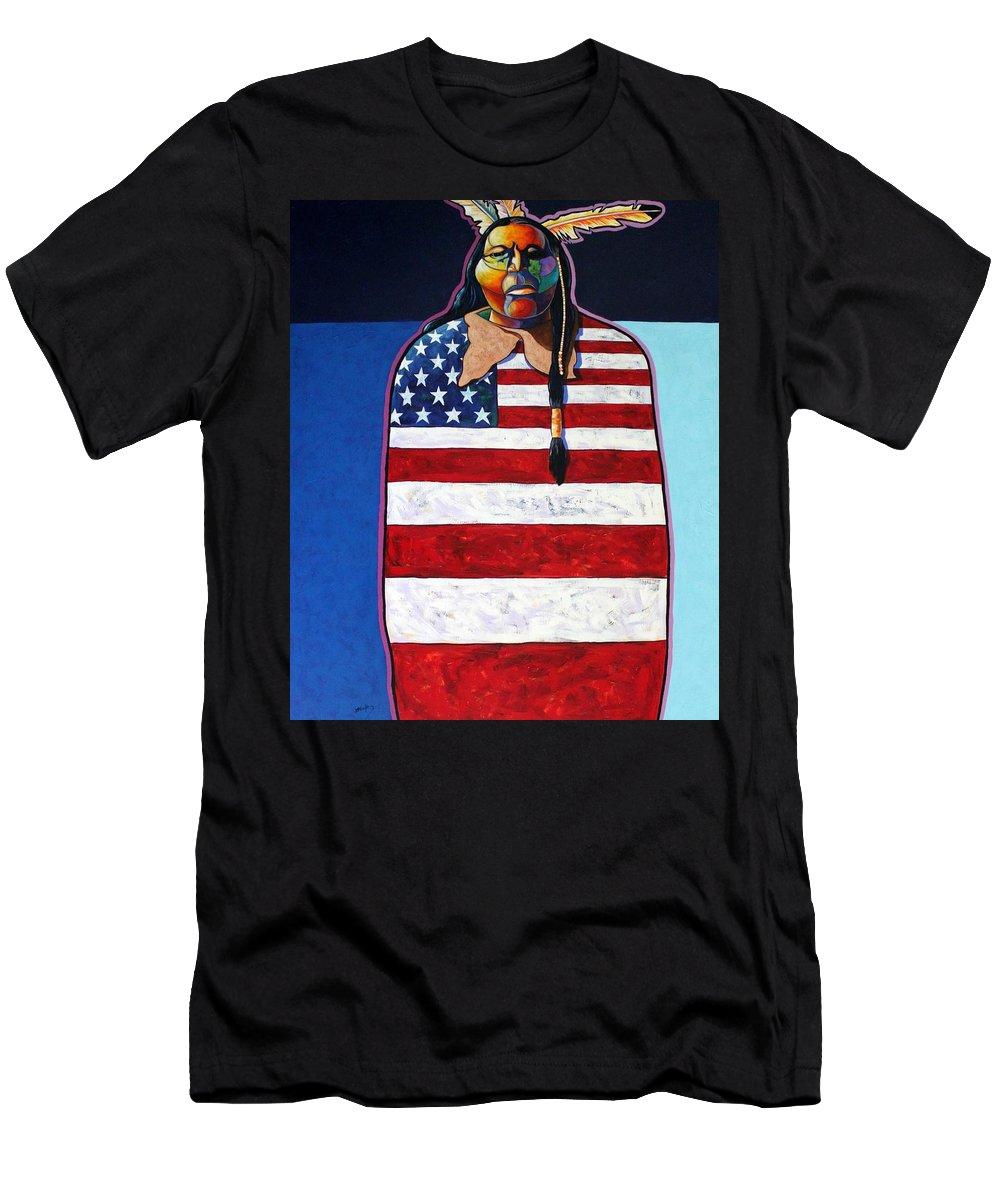 Native American Wrapped In Us Flag Men's T-Shirt (Athletic Fit) featuring the painting Poverty Still Cracks The Whip by Joe Triano