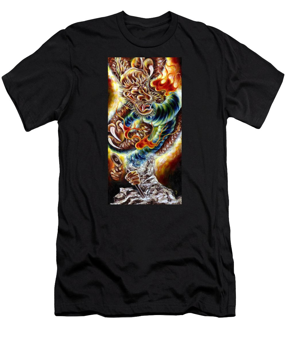 Caving Men's T-Shirt (Athletic Fit) featuring the painting Power Of Spirit by Hiroko Sakai