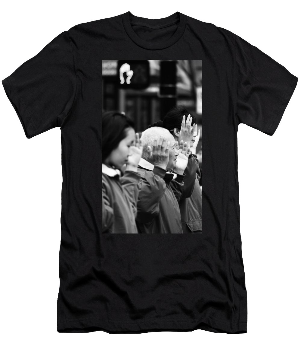 Street Photography Men's T-Shirt (Athletic Fit) featuring the photograph Praise by The Artist Project