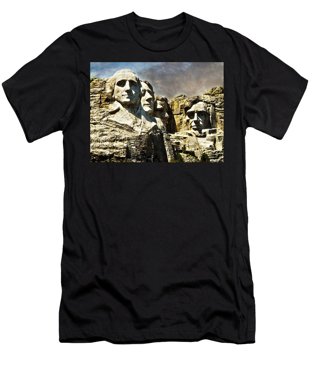 Rushmore Men's T-Shirt (Athletic Fit) featuring the photograph Presidential Rocks by Judy Hall-Folde