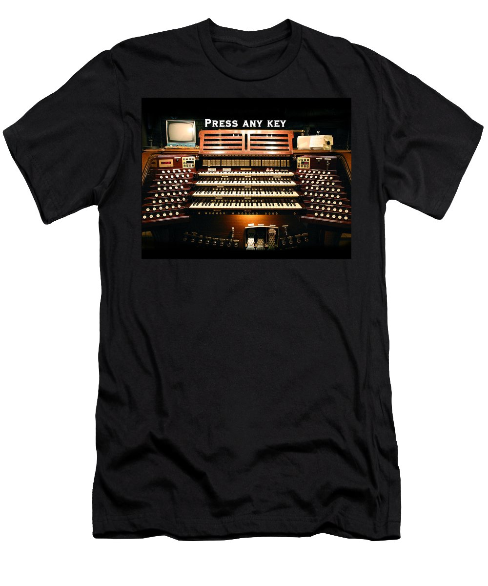 Pipe Organ Men's T-Shirt (Athletic Fit) featuring the photograph Press Any Key by Jenny Setchell