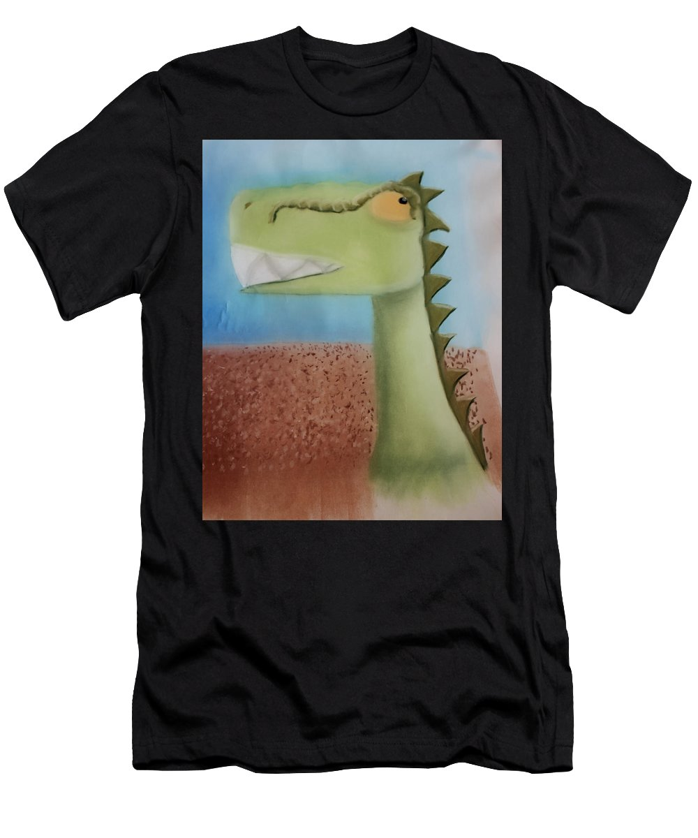 Dinosaur Men's T-Shirt (Athletic Fit) featuring the pastel Dinoart Raptor by Joshua Maddison