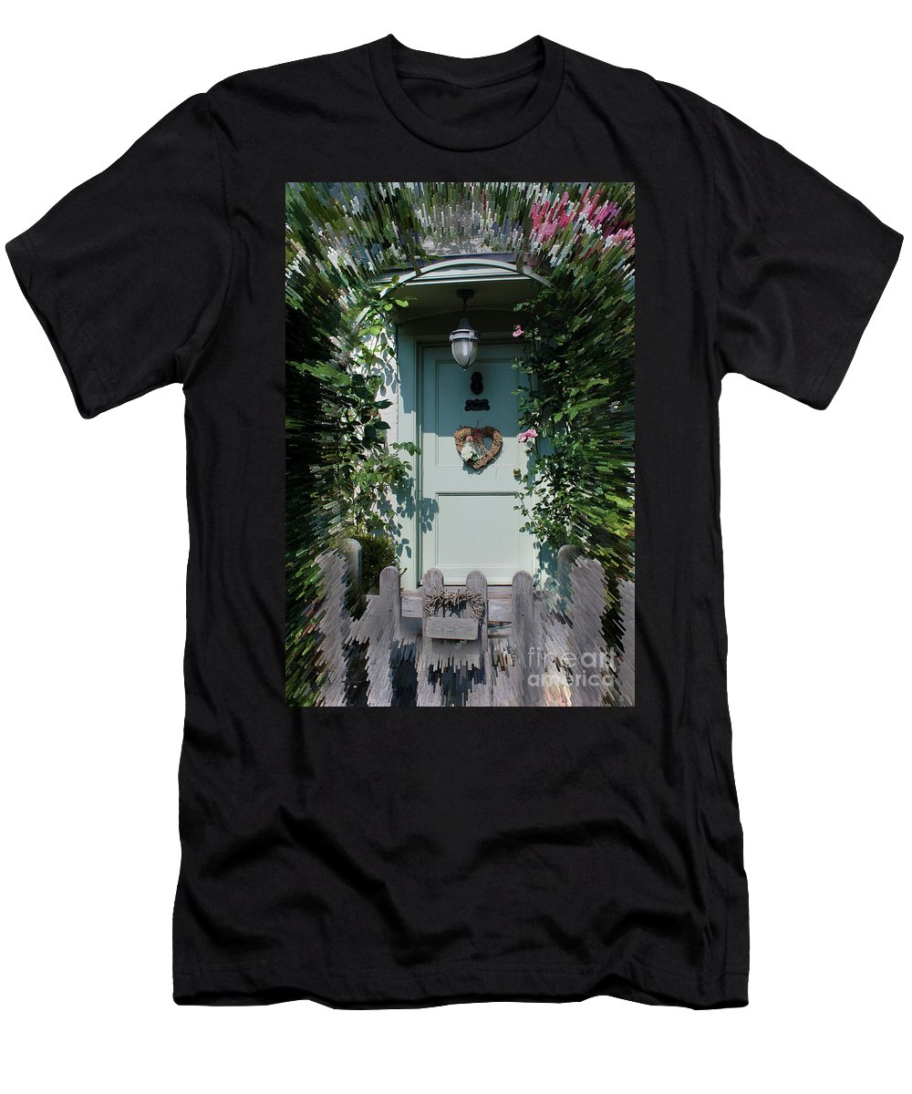 Front Door Men's T-Shirt (Athletic Fit) featuring the photograph Pretty Door In Nether Wallop by Terri Waters