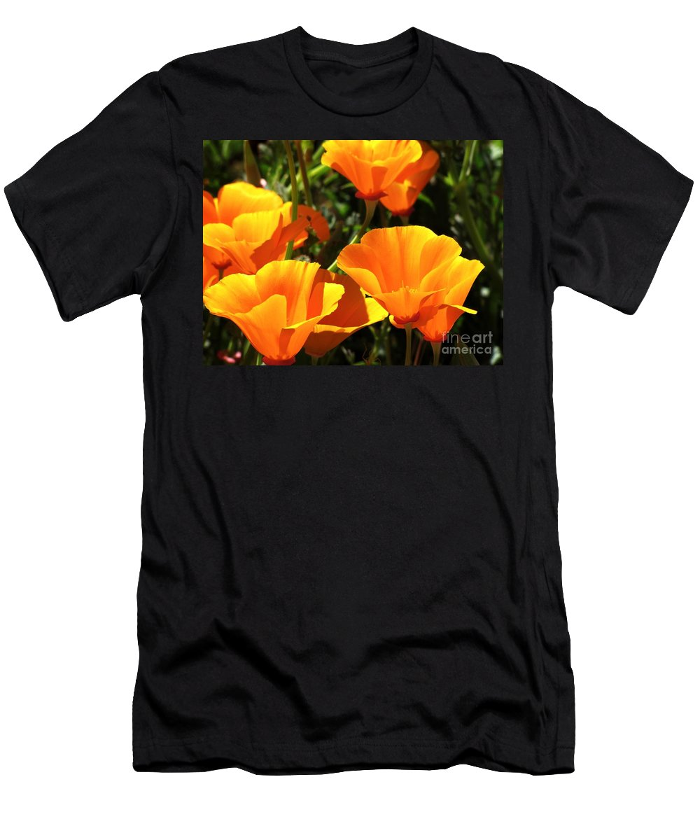 Poppies Men's T-Shirt (Athletic Fit) featuring the photograph Pretty In Orange by Sheryl Young