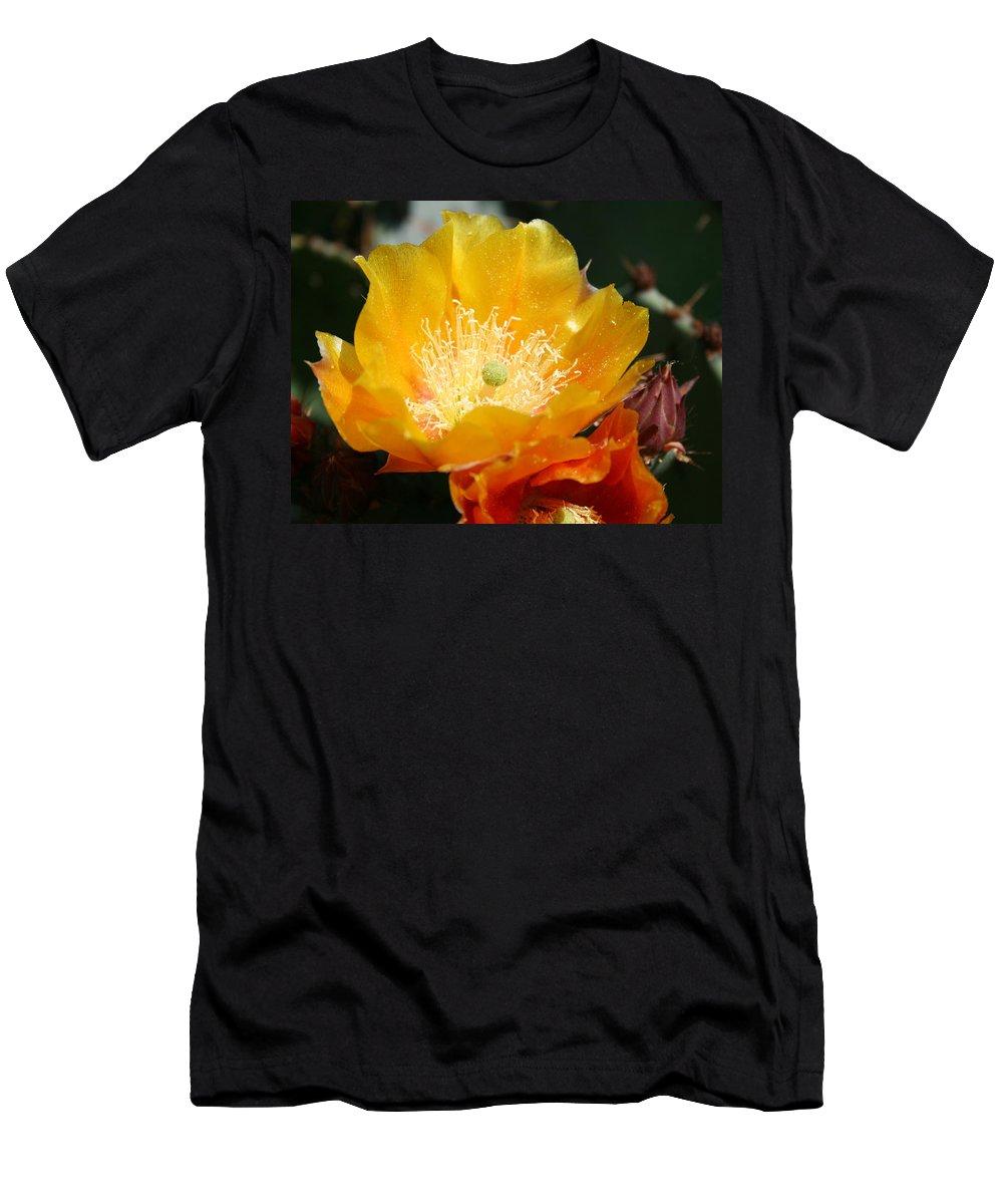 Prickly Pear Blossom Men's T-Shirt (Athletic Fit) featuring the photograph Prickly Pear Blossom by Ellen Henneke