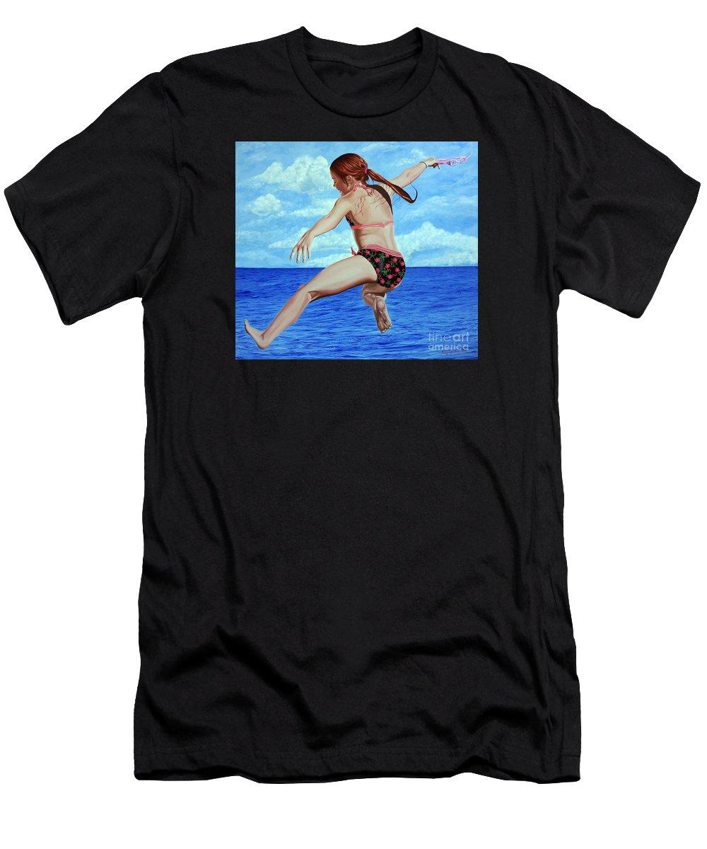 Ocean Men's T-Shirt (Athletic Fit) featuring the painting Princess Of The Ocean - Princesa Del Oceano by Rezzan Erguvan-Onal