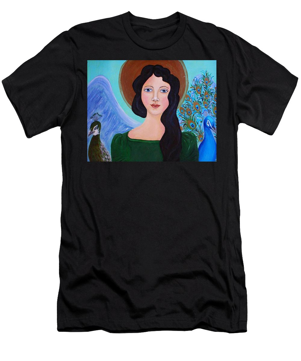 Folk Angel Men's T-Shirt (Athletic Fit) featuring the painting Priscilla The Balancing Angel Of Love by The Art With A Heart By Charlotte Phillips