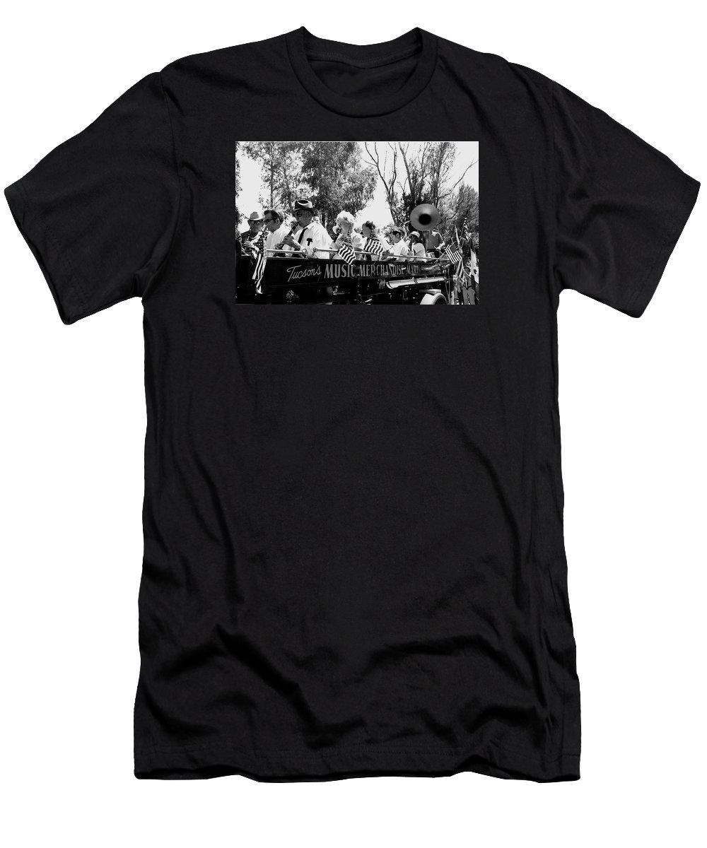 Pro-viet Nam War March Beaver's Band Box Musicians Tucson Arizona 1970 Black And White Men's T-Shirt (Athletic Fit) featuring the photograph Pro-viet Nam War March Beaver's Band Box Musicians Tucson Arizona 1970 Black And White by David Lee Guss