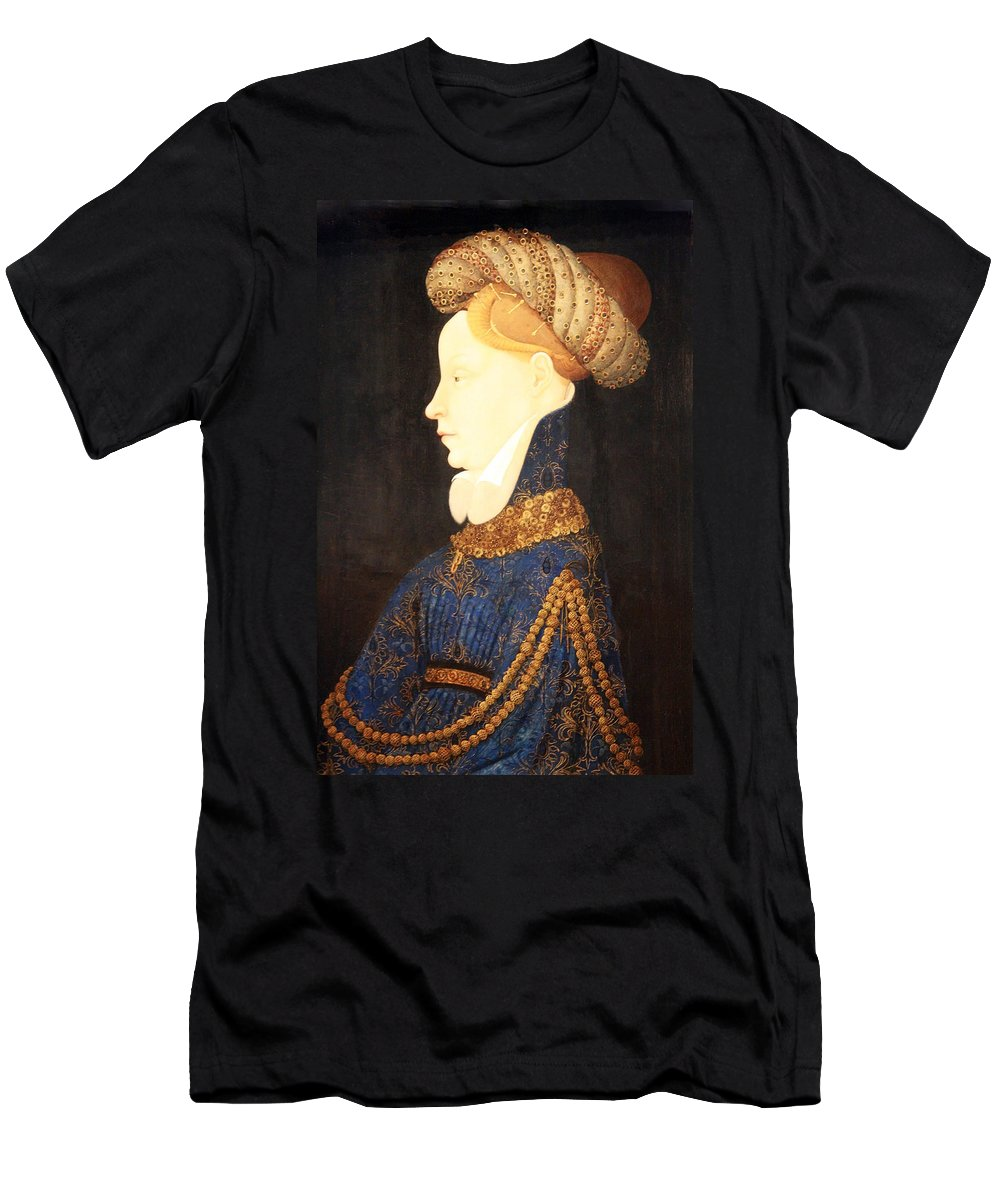 Profile Portrait Of A Lady Men's T-Shirt (Athletic Fit) featuring the photograph Profile Portrait Of A Lady -- Franco Flemish 15th Century by Cora Wandel