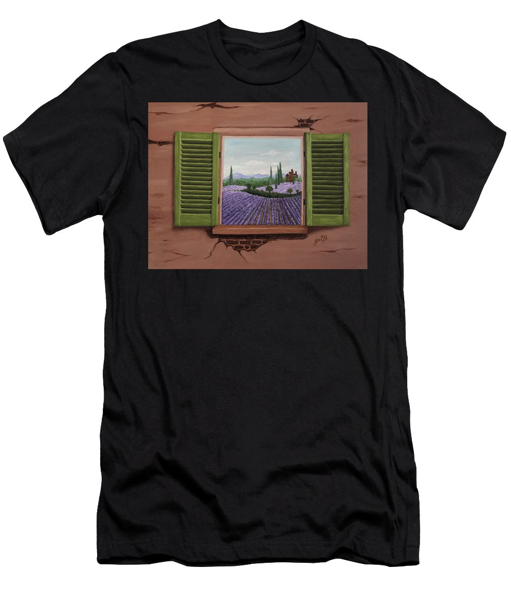 Provence Men's T-Shirt (Athletic Fit) featuring the painting Provence Lavander Fields Original Acrylic by Georgeta Blanaru