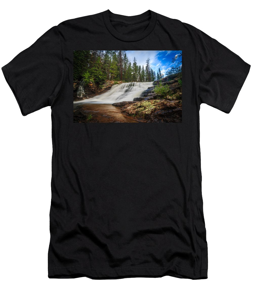 Gigimarie Men's T-Shirt (Athletic Fit) featuring the photograph Provo River Falls 2 by Gina Herbert