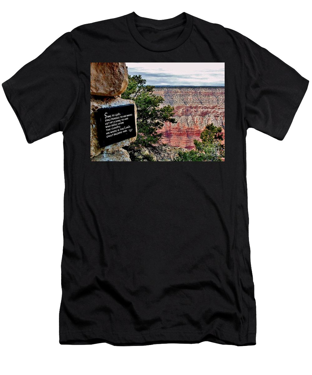 Grand Canyon Men's T-Shirt (Athletic Fit) featuring the photograph Psalm 68 - Grand Canyon by Marilyn Smith