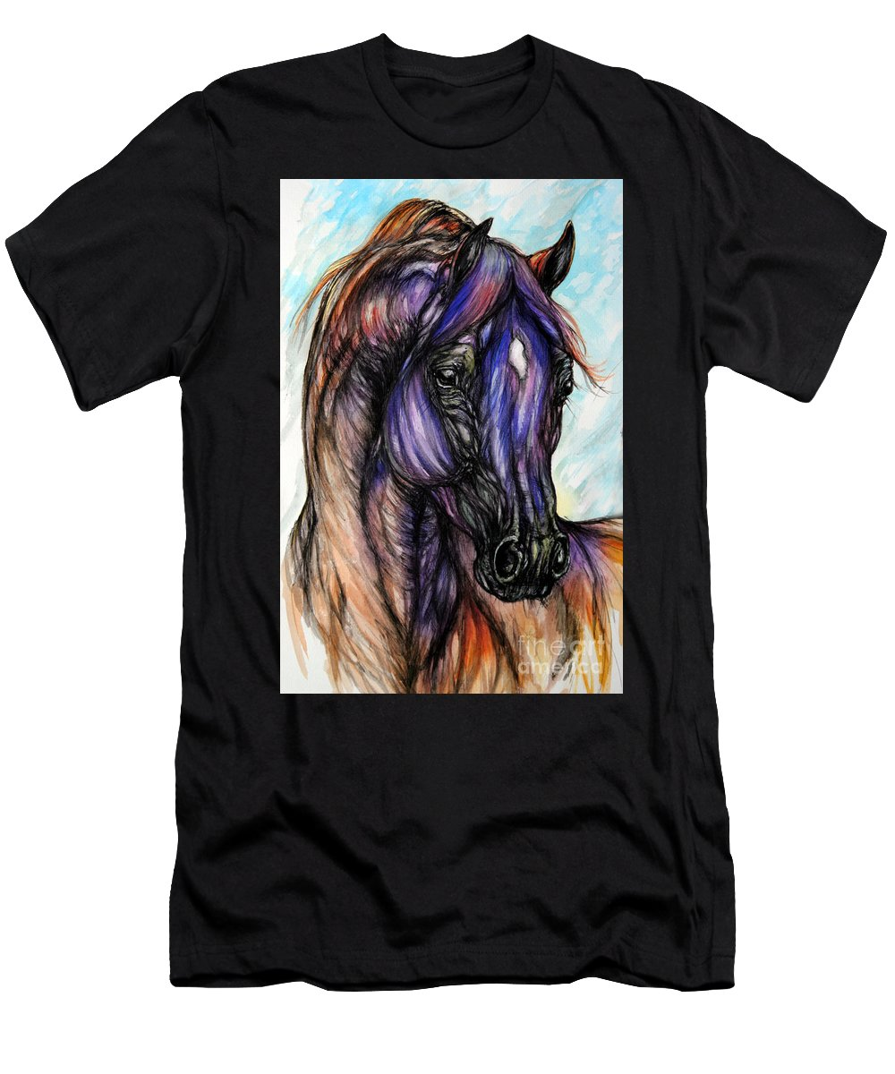 Horse Men's T-Shirt (Athletic Fit) featuring the painting Psychedelic Blue And Orange by Angel Ciesniarska