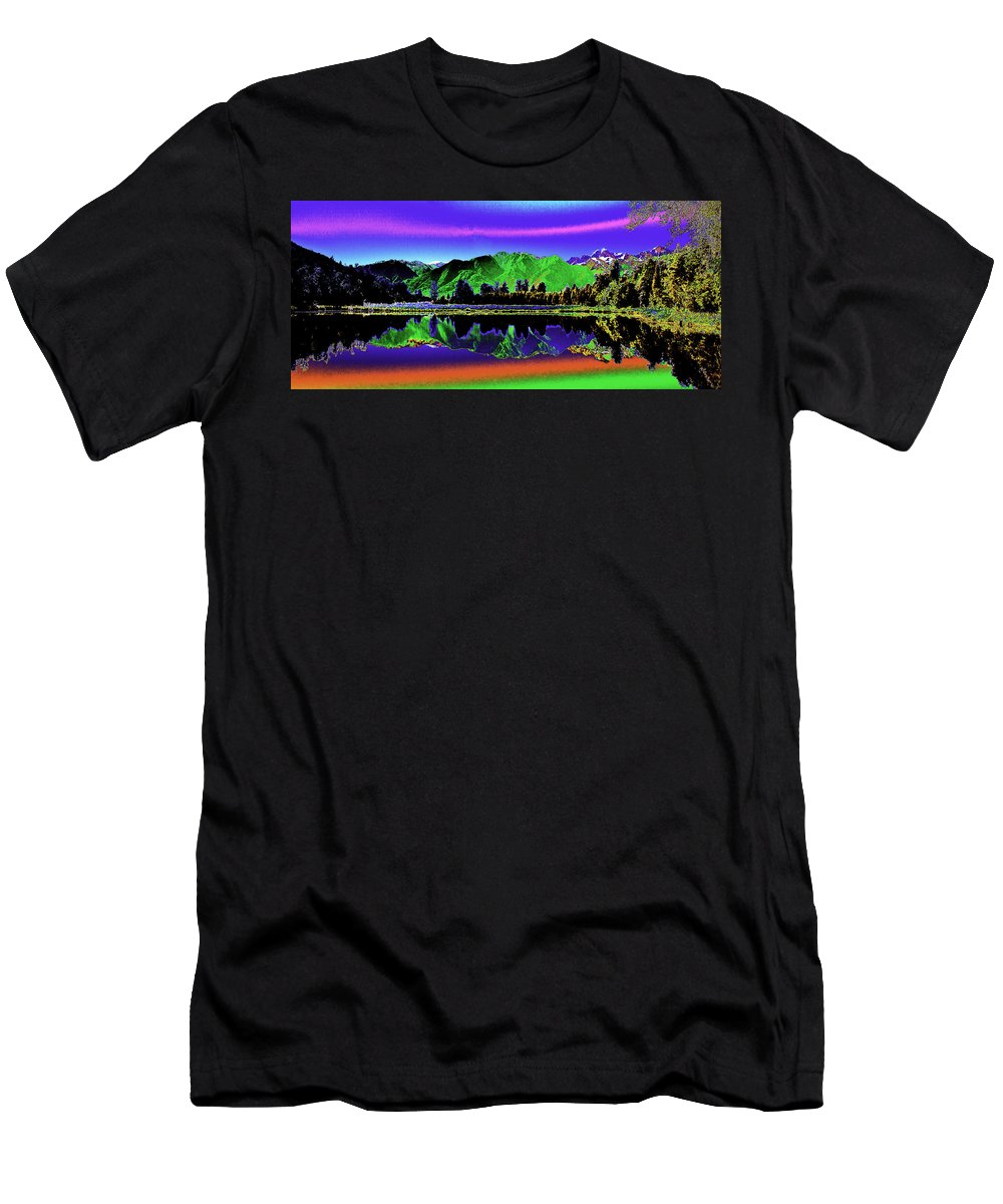 New Zealand Men's T-Shirt (Athletic Fit) featuring the photograph Psychedelic Lake Matheson Ner Zealand 3 by Peter Lloyd