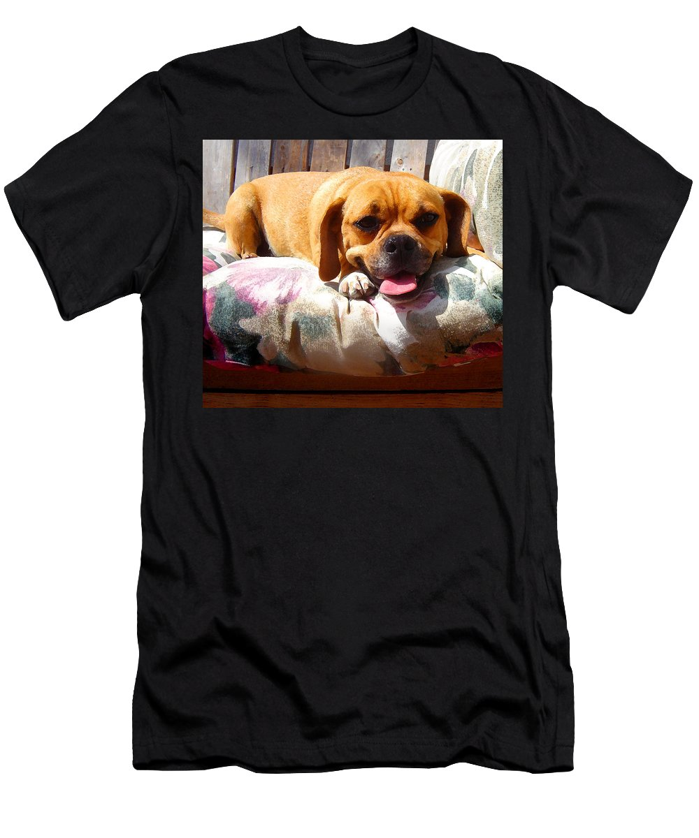 Animal Men's T-Shirt (Athletic Fit) featuring the painting Puggle Lounging by Amy Vangsgard