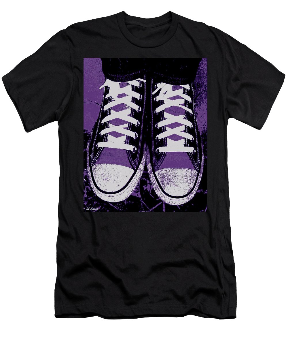 Pumped Up Purple Men's T-Shirt (Athletic Fit) featuring the photograph Pumped Up Purple by Edward Smith