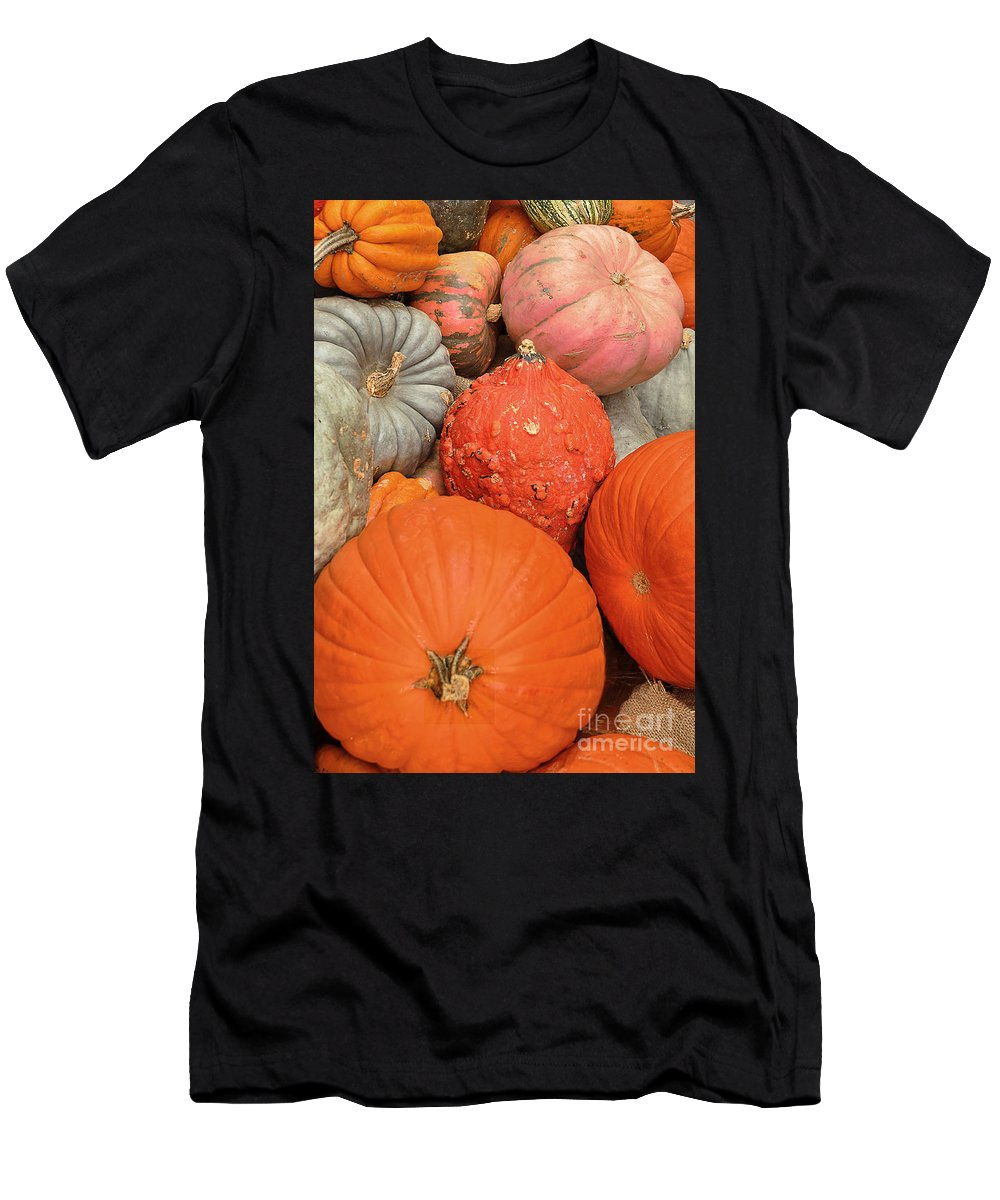 Pumpkins Men's T-Shirt (Athletic Fit) featuring the photograph Pumpkin Happy by Regina Geoghan