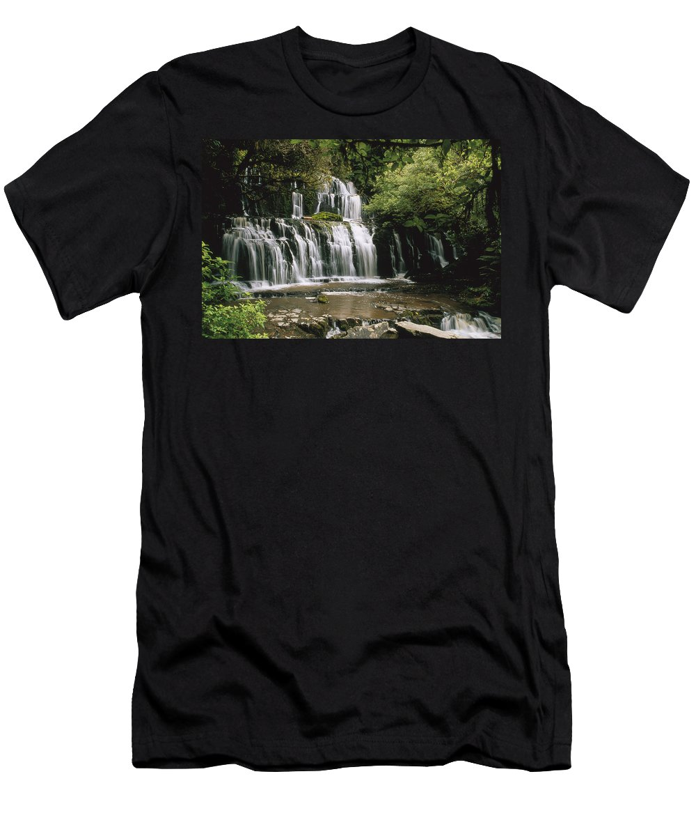 Feb0514 Men's T-Shirt (Athletic Fit) featuring the photograph Purakaunui Falls And Tropical by Konrad Wothe
