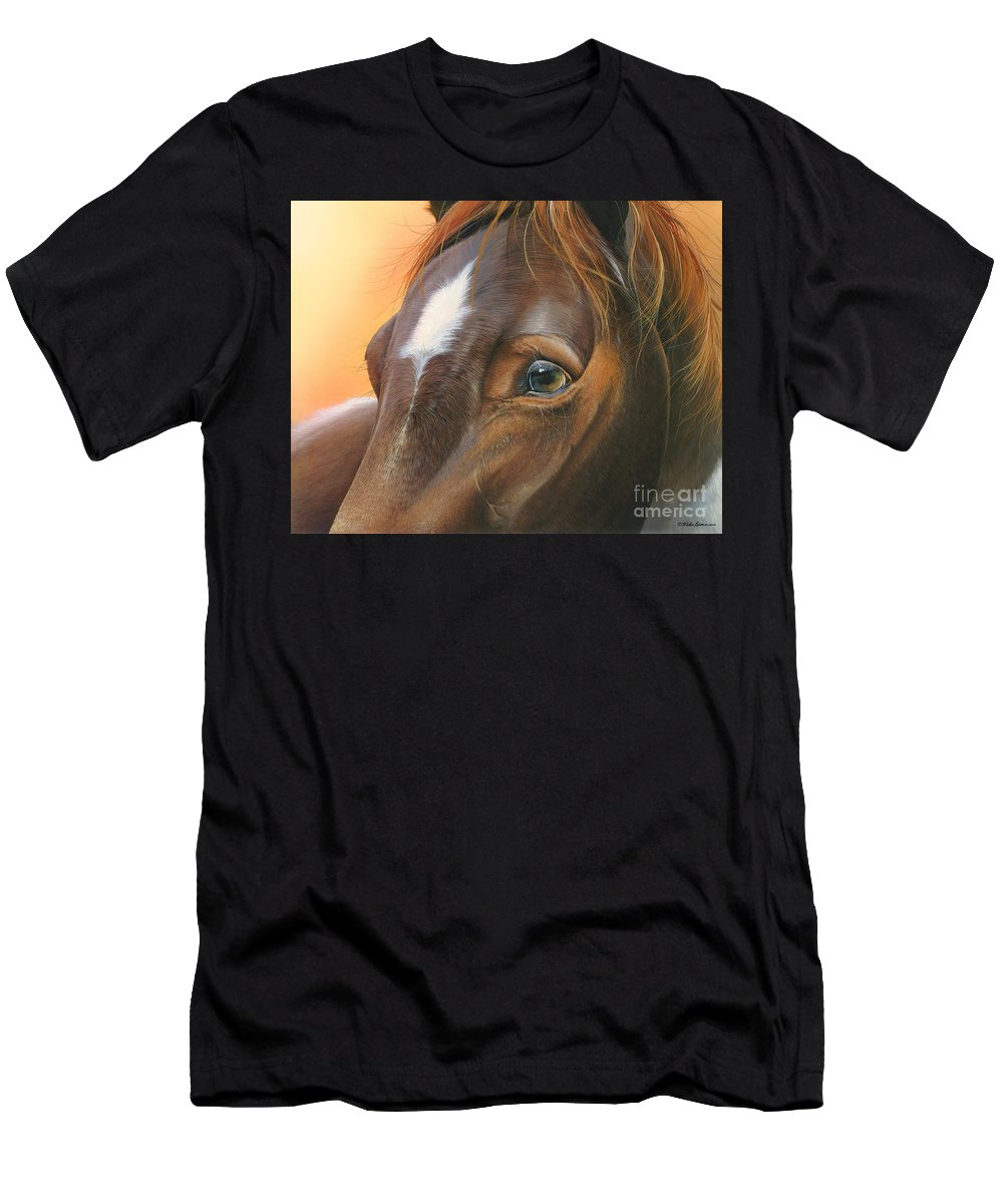 Horse Men's T-Shirt (Athletic Fit) featuring the painting Pure Grace by Mike Brown