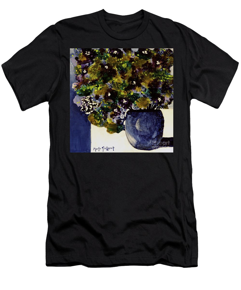 Abstract Flower Bouquet Paintings Men's T-Shirt (Athletic Fit) featuring the painting Purple Chrysanthemum by Marta Tollerup