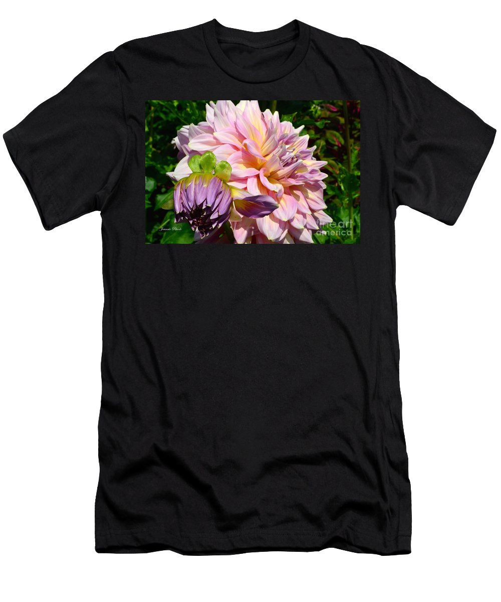 Purple Dahlia With Bud Men's T-Shirt (Athletic Fit) featuring the photograph Purple Dahlia With Bud by Jeannie Rhode