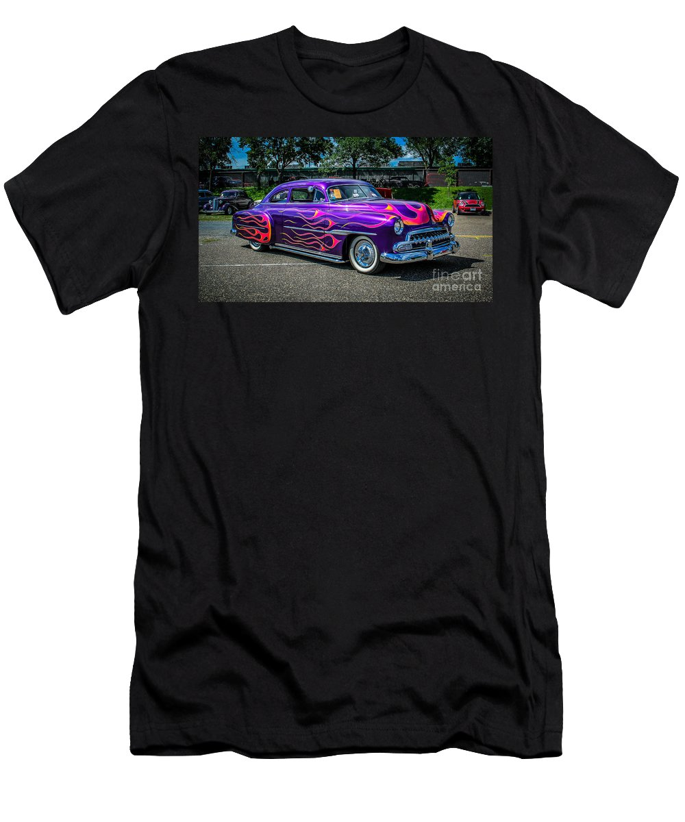 Car Men's T-Shirt (Athletic Fit) featuring the photograph Purple Flame by Perry Webster