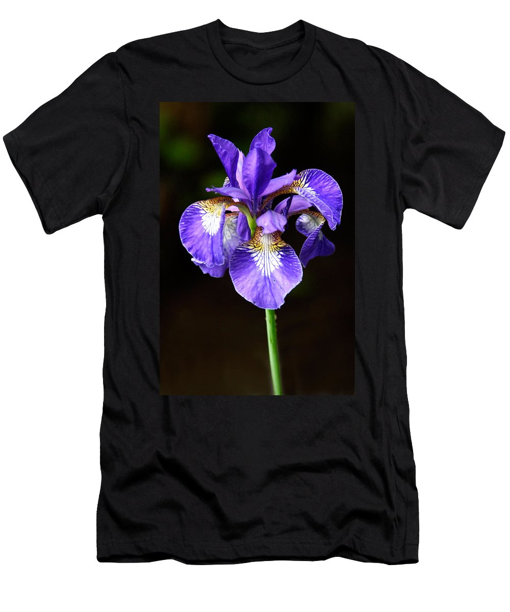 3scape Men's T-Shirt (Athletic Fit) featuring the photograph Purple Iris by Adam Romanowicz