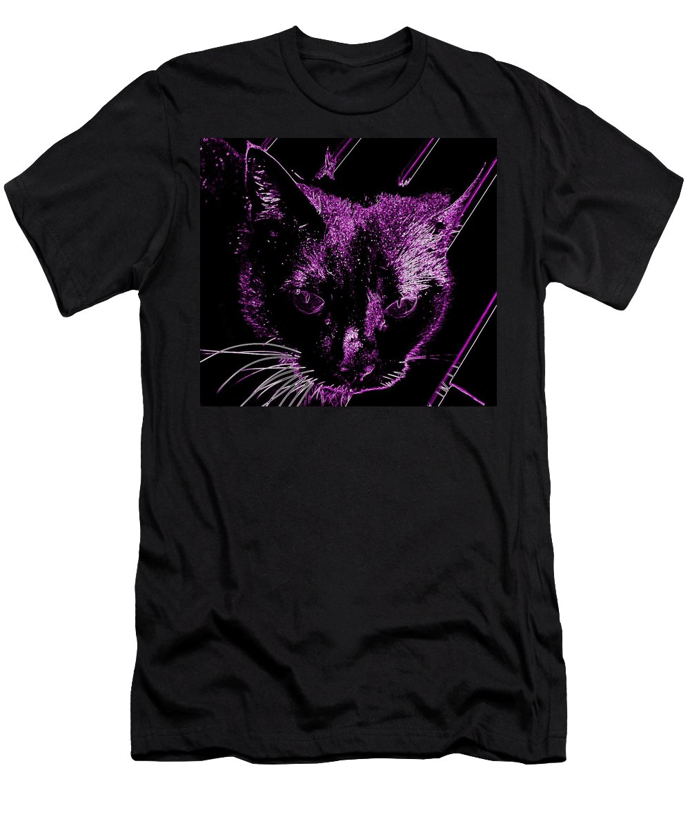 Cat Fur Ears Eyes Diagonal Whiskers Tabby Tom Men's T-Shirt (Athletic Fit) featuring the photograph Purple Neon Cat by Guy Pettingell