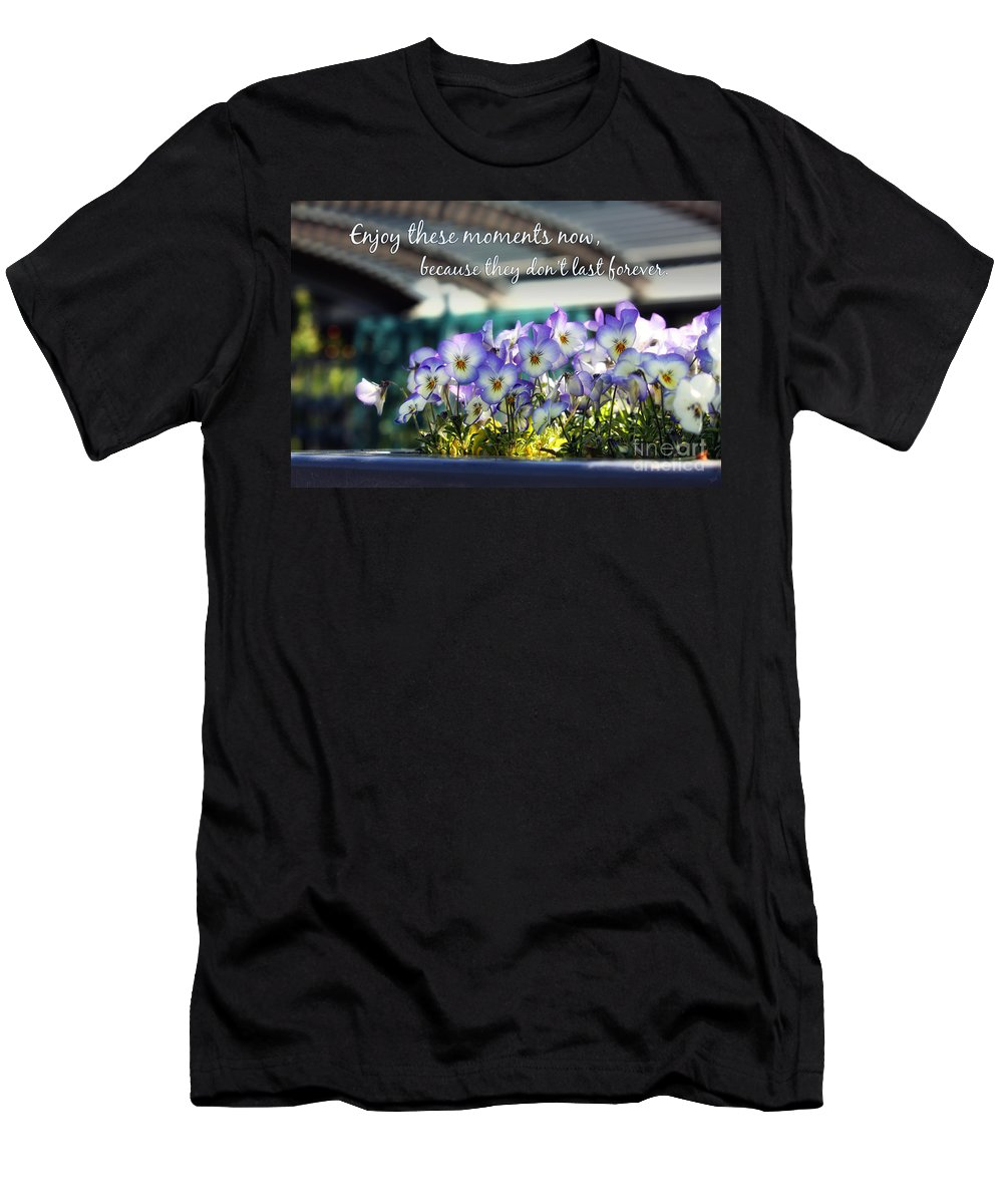 Quotes Men's T-Shirt (Athletic Fit) featuring the photograph Purple Pansies And Life Quote by Nishanth Gopinathan