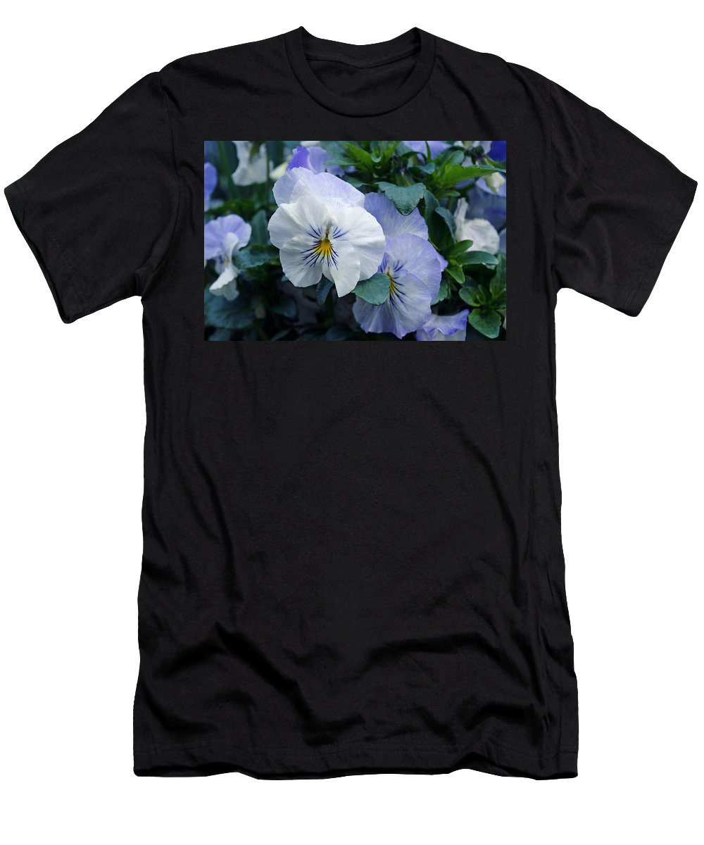 Purple Men's T-Shirt (Athletic Fit) featuring the photograph Purple Pansies by Tikvah's Hope