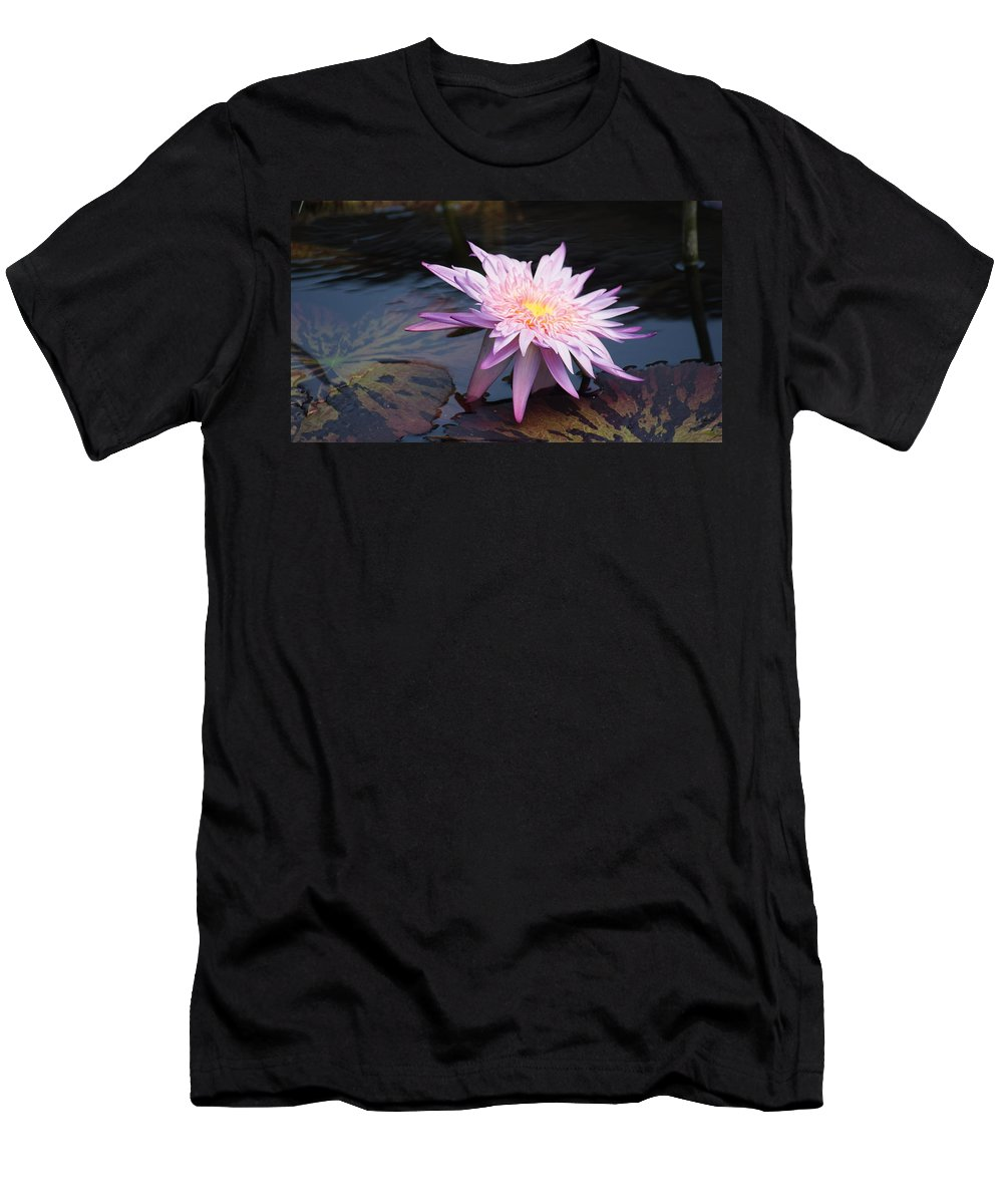 Purple Men's T-Shirt (Athletic Fit) featuring the photograph Purple Pink Yellow Waterlily... by Rob Luzier