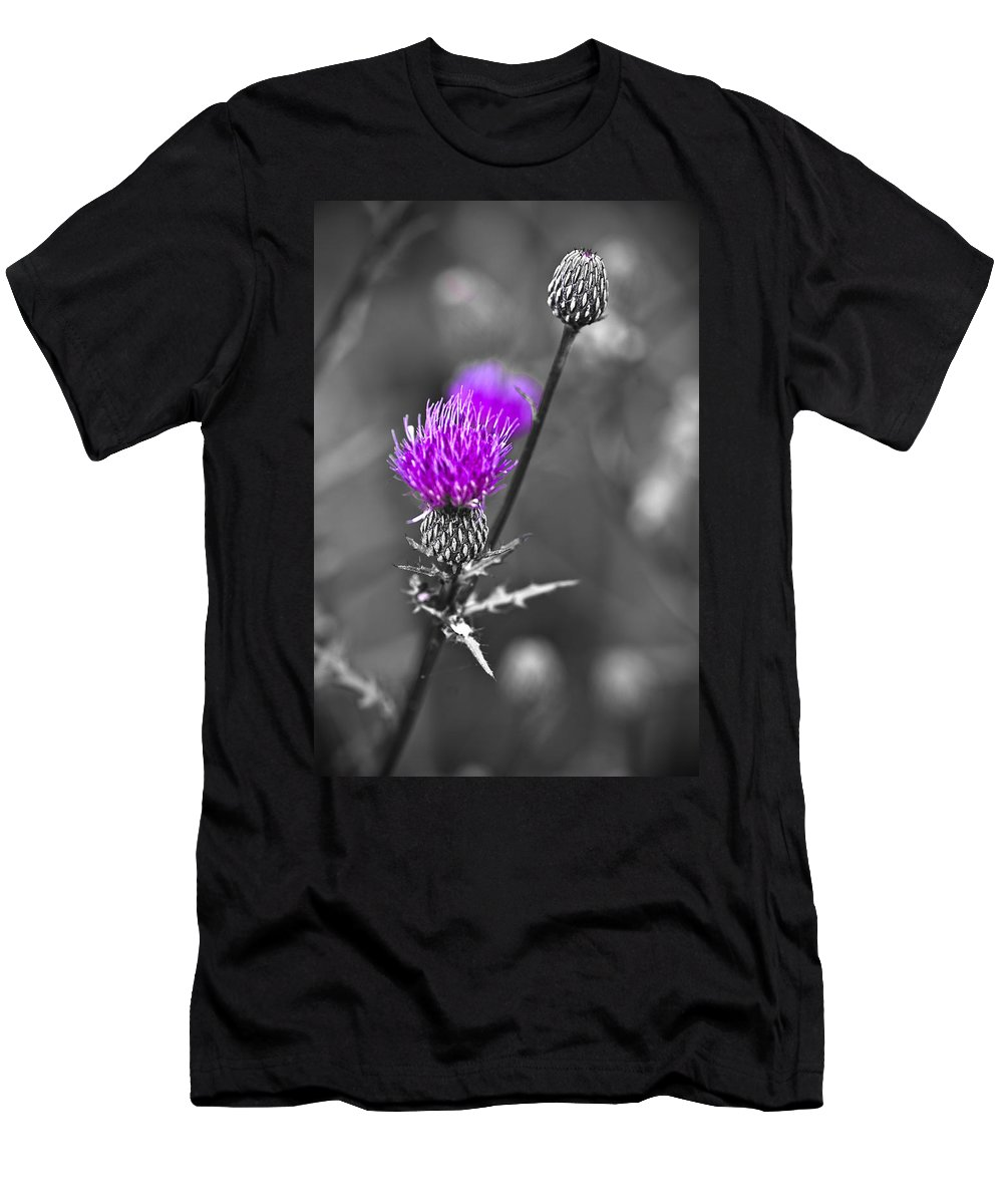 Selective Color Men's T-Shirt (Athletic Fit) featuring the photograph Purple by Samantha Eisenhauer
