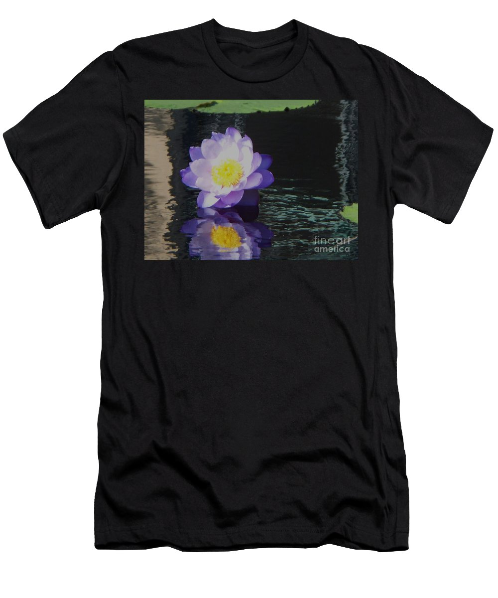 Photograph Men's T-Shirt (Athletic Fit) featuring the photograph Purple White Yellow Lily by Eric Schiabor