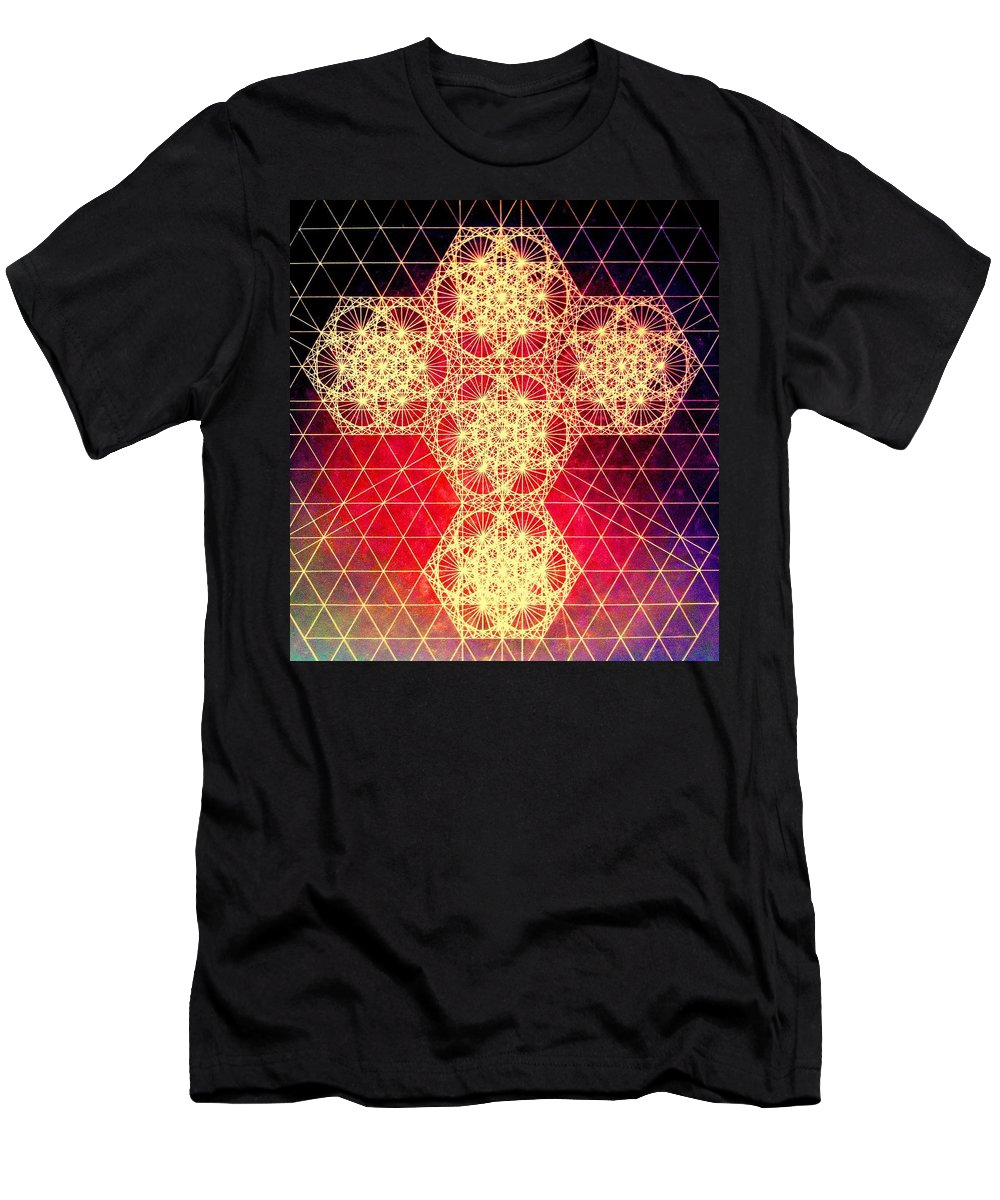 Cross Men's T-Shirt (Athletic Fit) featuring the drawing Quantum Cross Hand Drawn by Jason Padgett