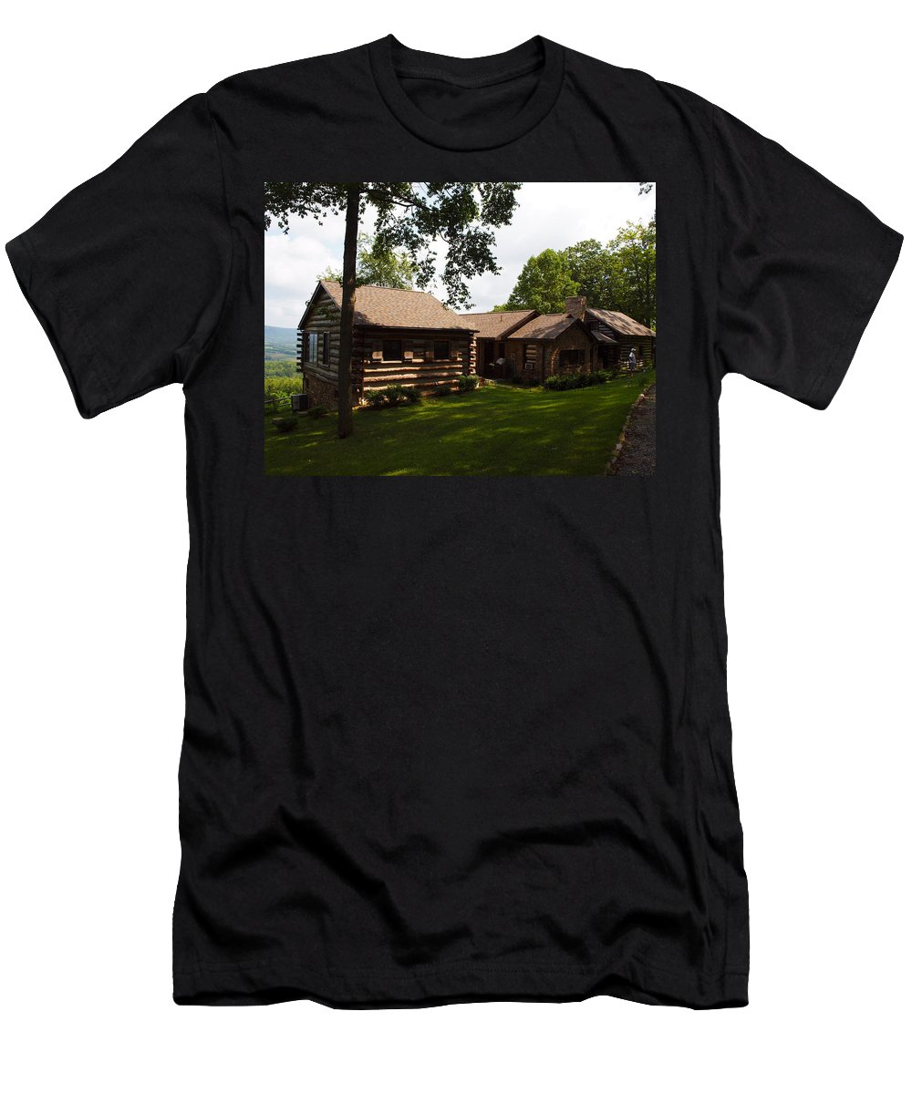 Cabins Men's T-Shirt (Athletic Fit) featuring the photograph Quiet Cabin On A Hill by Robert Margetts
