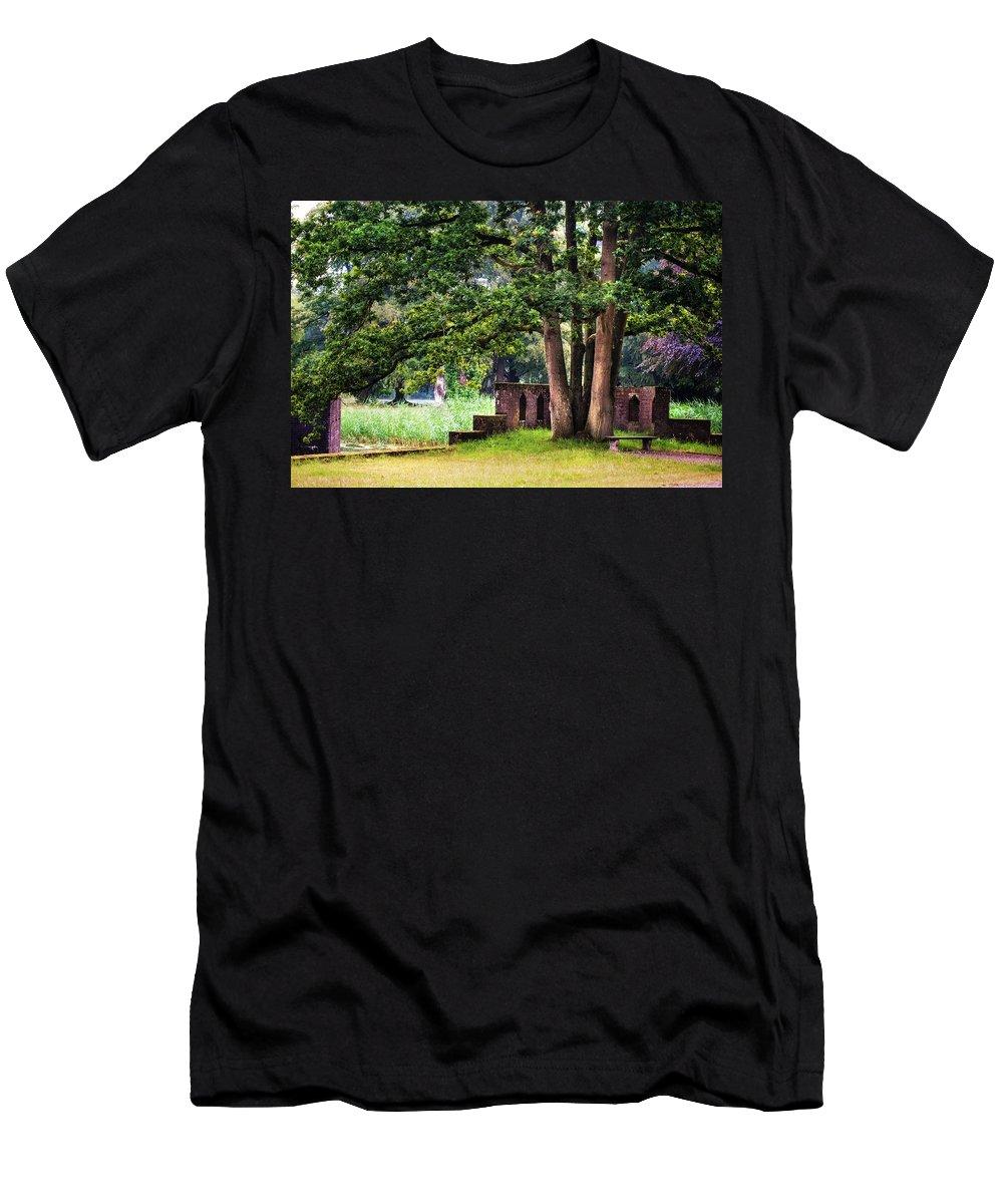 Utrecht Men's T-Shirt (Athletic Fit) featuring the photograph Quiet Park Corner. De Haar Castle by Jenny Rainbow
