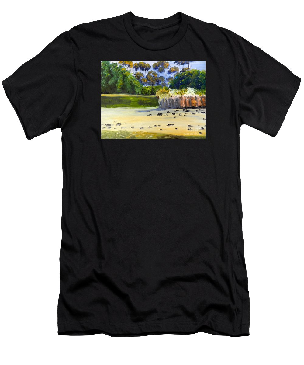Impressionist Men's T-Shirt (Athletic Fit) featuring the painting Quiet Sand By The Creek by Pamela Meredith