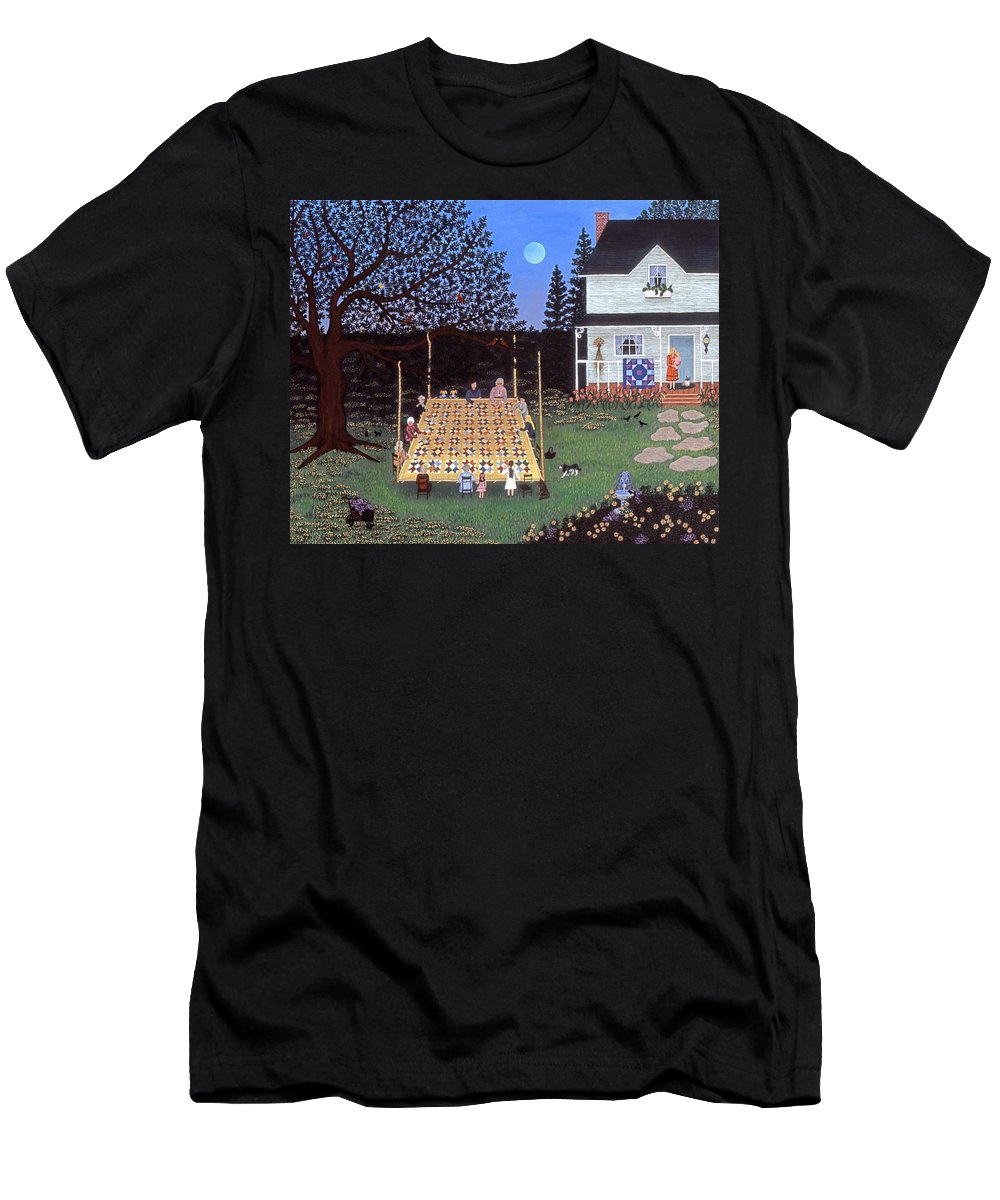 Folk Art Quilting Men's T-Shirt (Athletic Fit) featuring the painting Quilting In The Country by Linda Mears