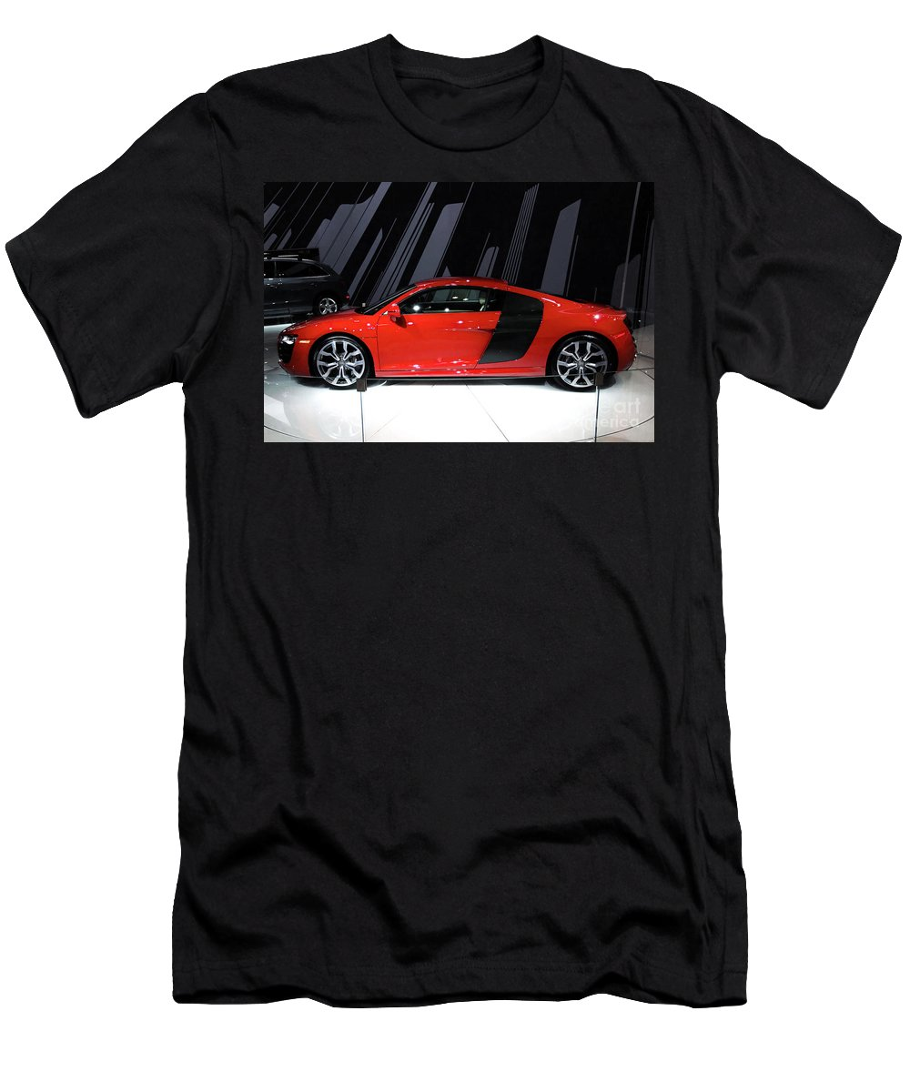 Automotive Men's T-Shirt (Athletic Fit) featuring the photograph R8 In Red by Alan Look