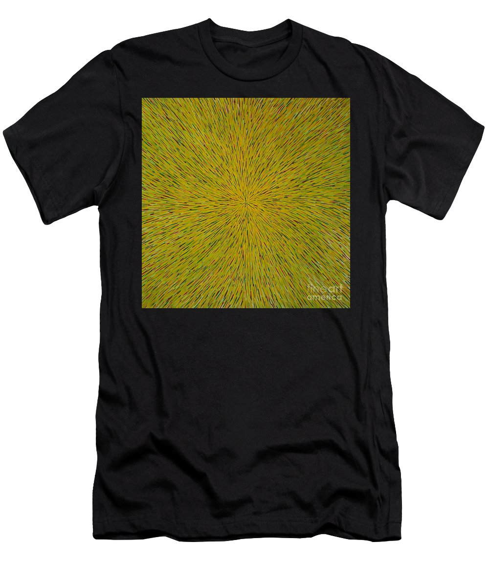 Abstract Men's T-Shirt (Athletic Fit) featuring the painting Radiation With Yellow Green And Red by Dean Triolo