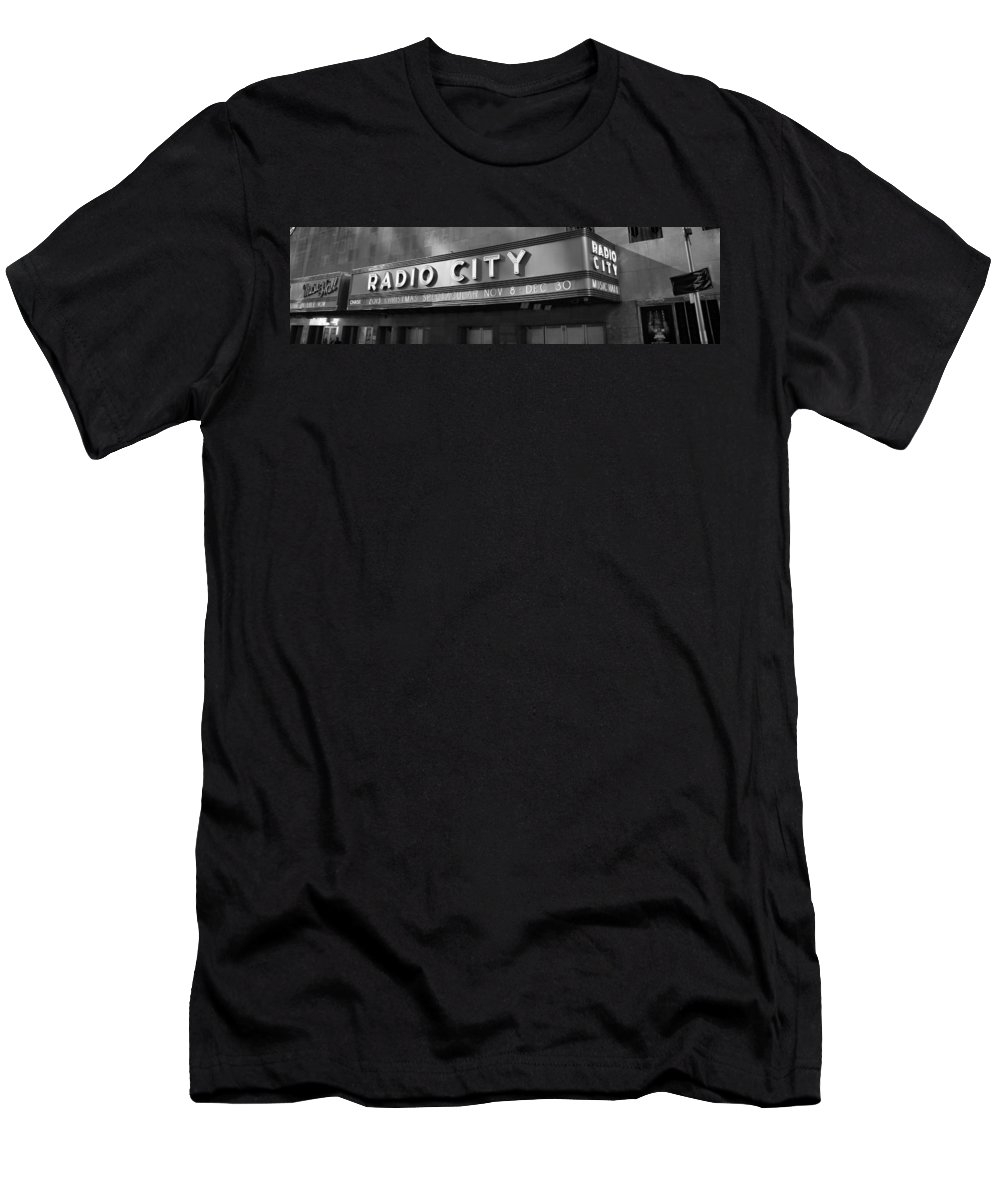 Radio City In Black And White Men's T-Shirt (Athletic Fit) featuring the photograph Radio City In Black And White by Dan Sproul