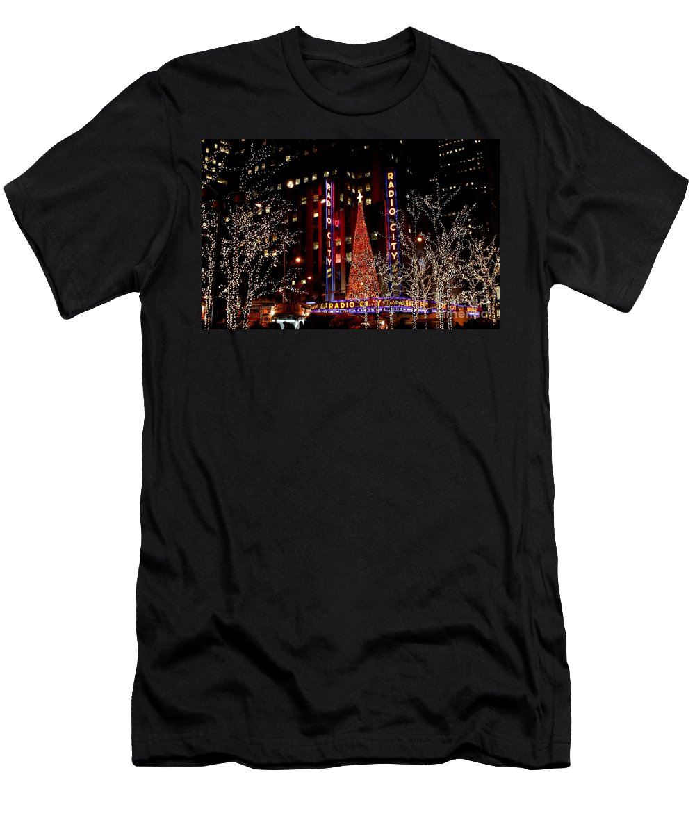 New York City Men's T-Shirt (Athletic Fit) featuring the photograph Radio City Music Hall by Living Color Photography Lorraine Lynch