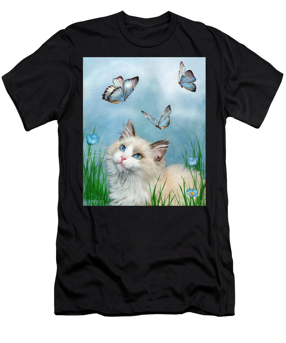 Kitty Men's T-Shirt (Athletic Fit) featuring the mixed media Ragdoll Kitty And Butterflies by Carol Cavalaris