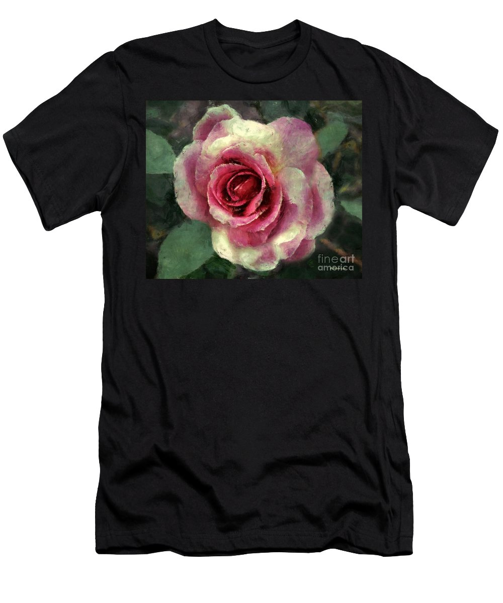 Rose Men's T-Shirt (Athletic Fit) featuring the painting Ragged Satin Rose by RC DeWinter