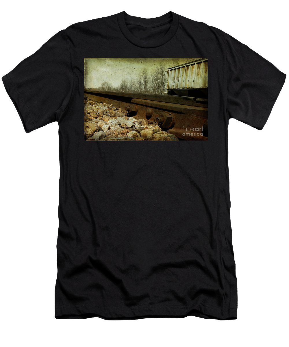 Railroad Men's T-Shirt (Athletic Fit) featuring the photograph Railroad Bolts by Cindi Ressler