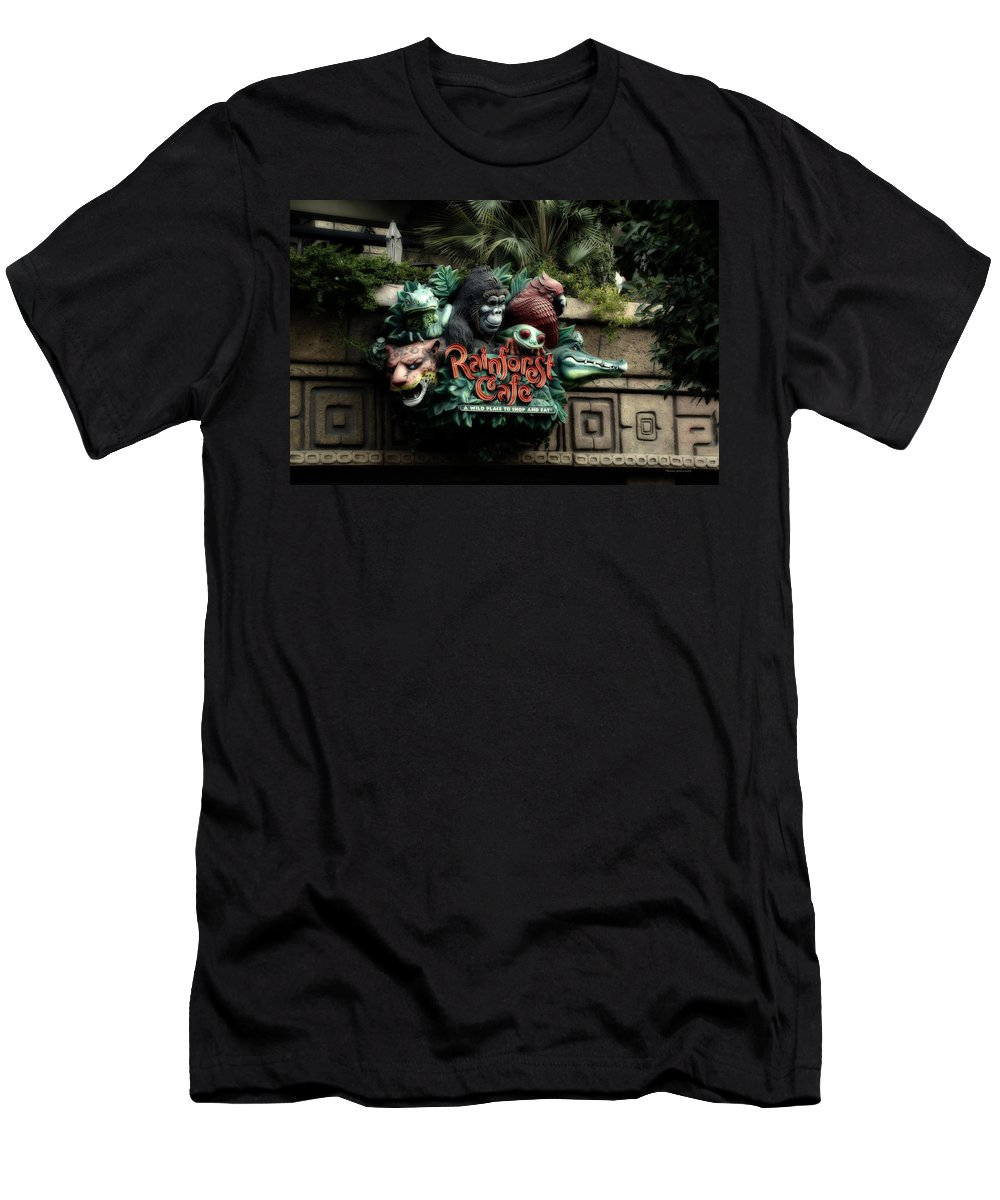 Disney Men's T-Shirt (Athletic Fit) featuring the photograph Rain Forest Cafe Signage Downtown Disneyland 03 by Thomas Woolworth