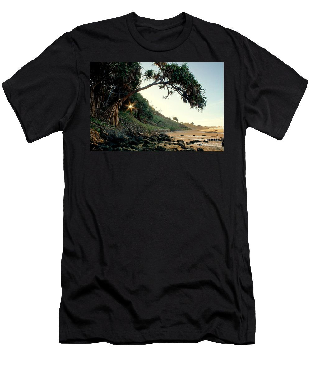 Beach Men's T-Shirt (Athletic Fit) featuring the photograph Rainbow Beach by Linda Lees